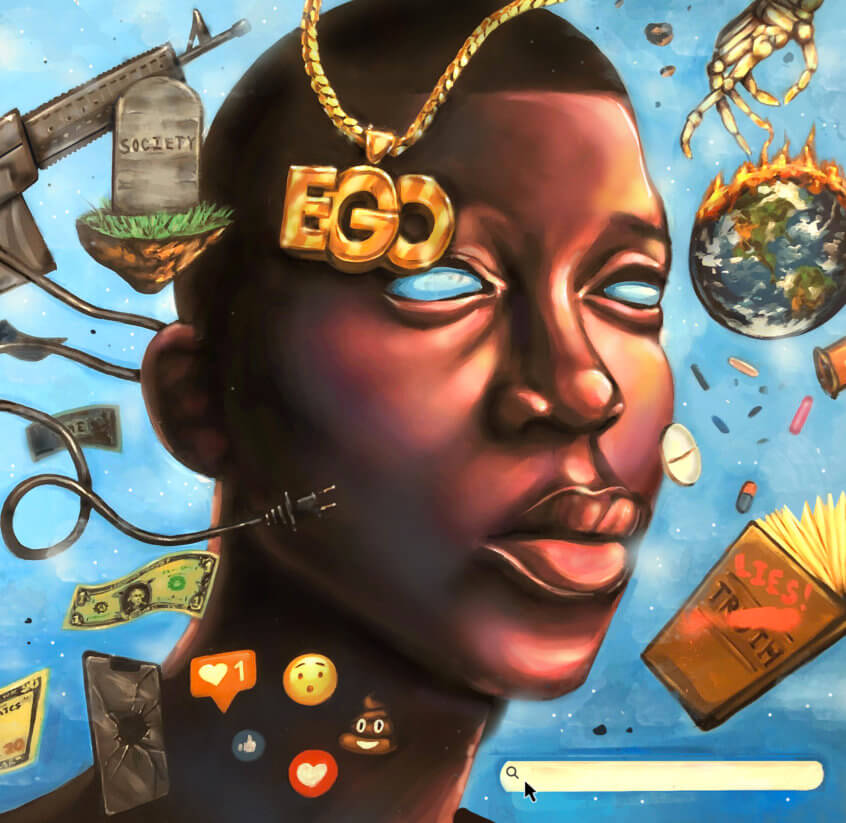 painting of a black person with items surrounding them