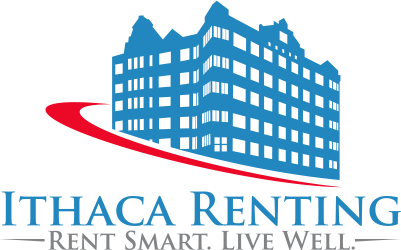 Ithaca renting logo: a blue building with a red stripe