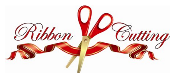 Red Ribbon and giant scissors with red handle and gold blades.