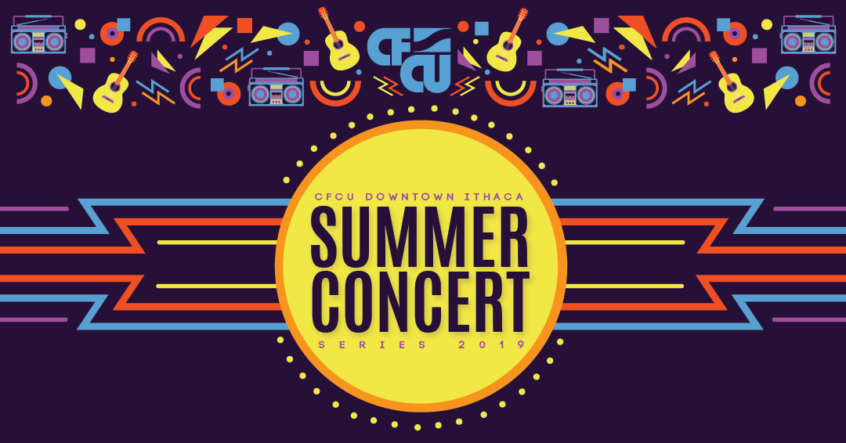 Summer Concert Series logo. Purple background, lemon colored circle in the center