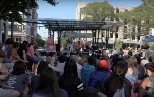 Cornell University student groups performing on the Bernie Milton Pavilion stage